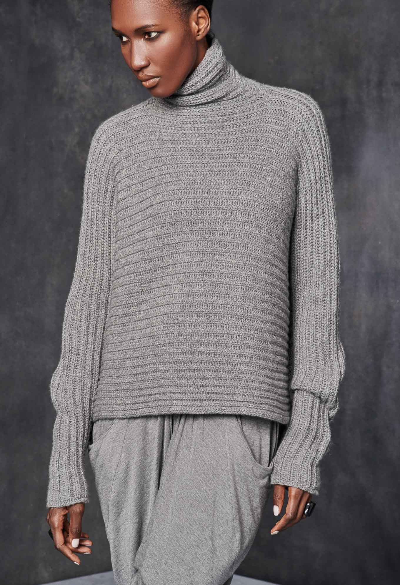 High Neck Horizontal Rib Sweater | neuleet | Pinterest | Knitwear ...