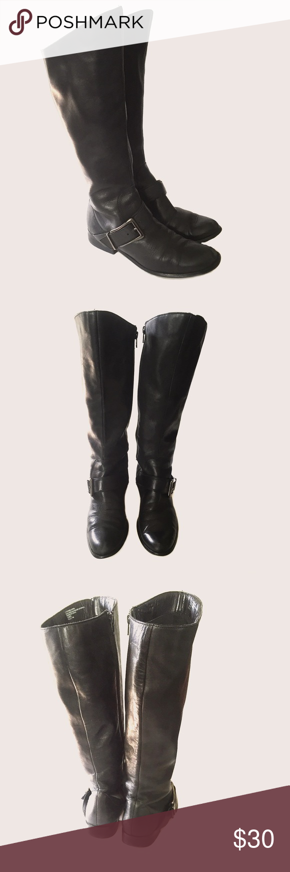 Leather High Calf Boots Normal wear and tear to front toes. Overall still in good condition. Super comfortable! +Leather Upper +Size: 7 ❤️ No trade inquiries please. Thank You:) Shoes Heeled Boots