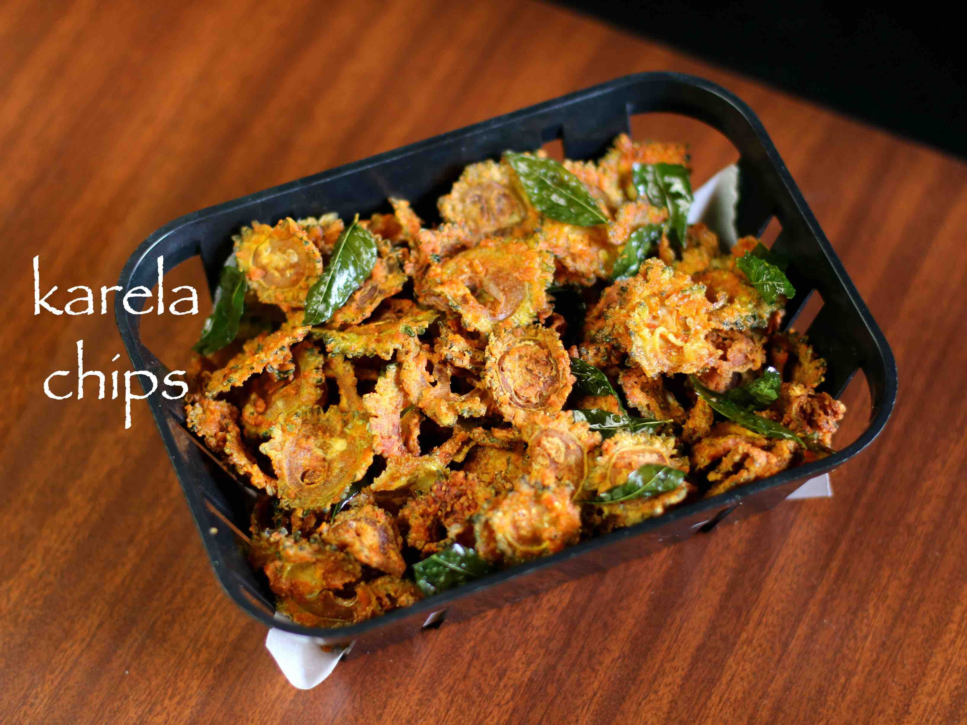 karela chips recipe bitter gourd chips hagalkayi or pavakkai chips recipe on hebbar s kitchen sweets id=96667