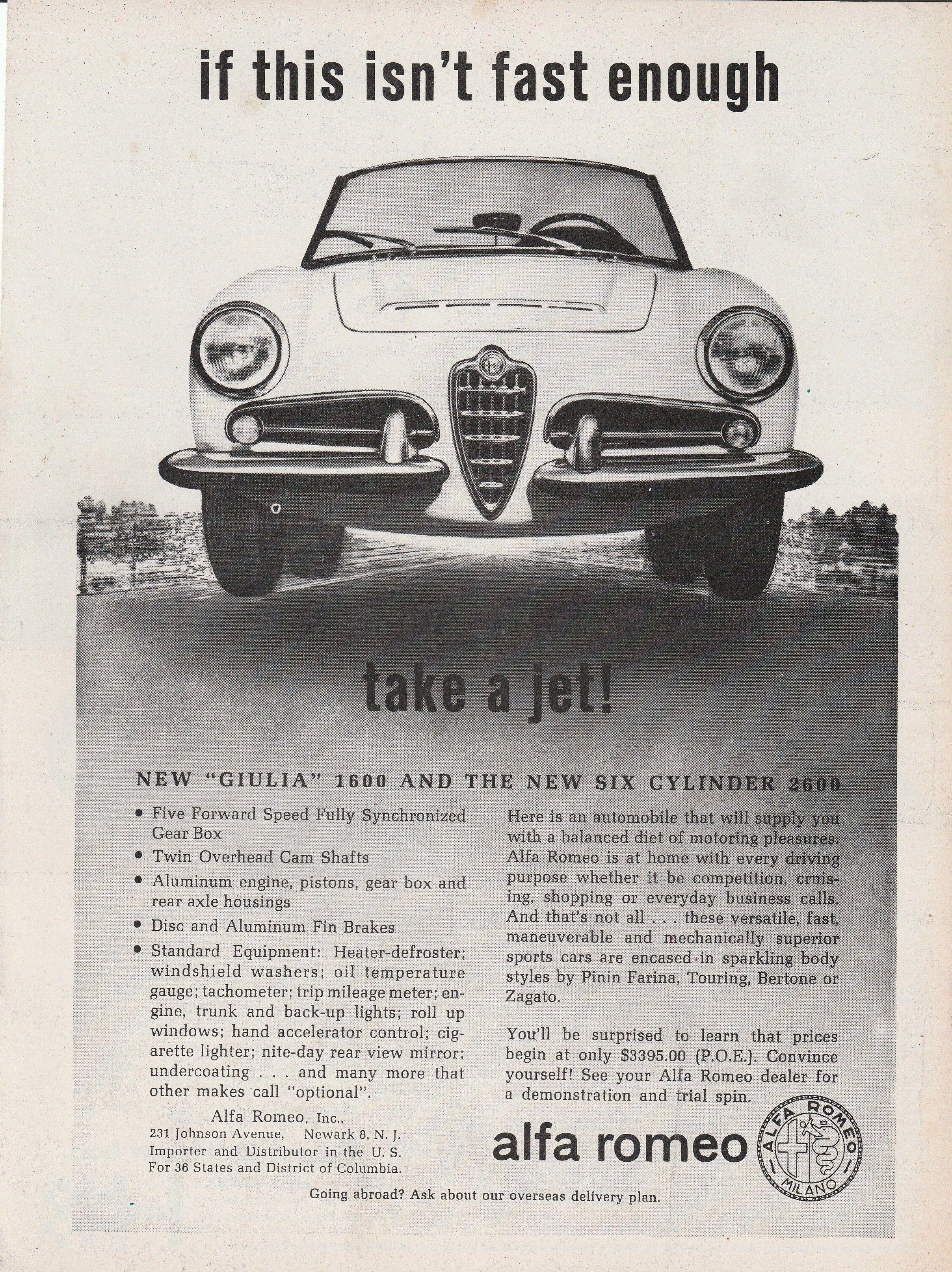 1963 Alfa Romeo If this isn t fast enough take a jet vintage ad