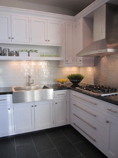 Kitchen with white cabinets glass subway tile and stainless steel accent also dom kuchnia pinterest