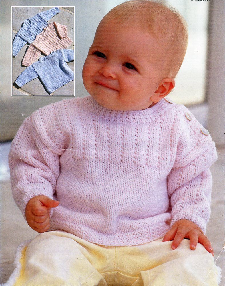 baby KNITTING PATTERN pdf baby / childs sweaters button shoulder ...
