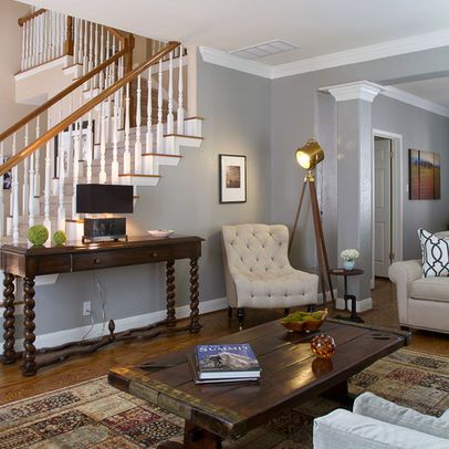 Living Room light wood baseboard Design Ideas, Pictures