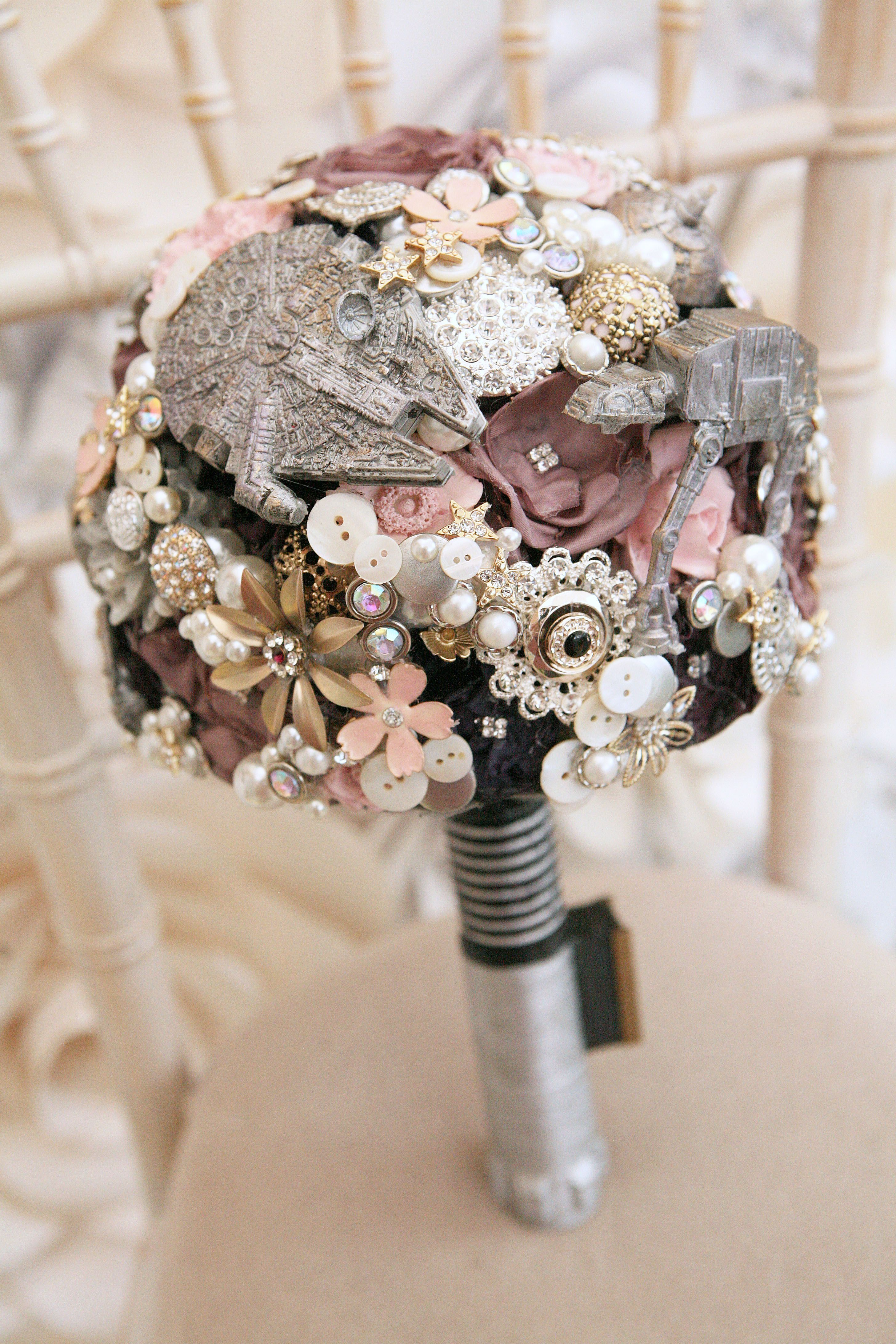 Star wars themed brooch bouquet complete with light sabers handle by star wars themed brooch bouquet complete with light sabers handle by maddison rocks floral sculpture izmirmasajfo