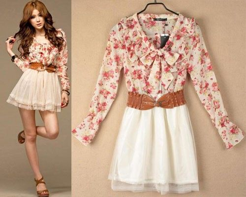 Korea Girl Summer Long Sleeve Floral Chiffon Cute Mini Dress w ...