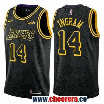 4dd984d10bb Men s Nike Los Angeles Lakers  14 Brandon Ingram Black NBA Swingman City Edition  Jersey