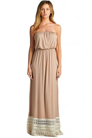 Balmy Nights Lace Trim Strapless Maxi Dress - Taupe