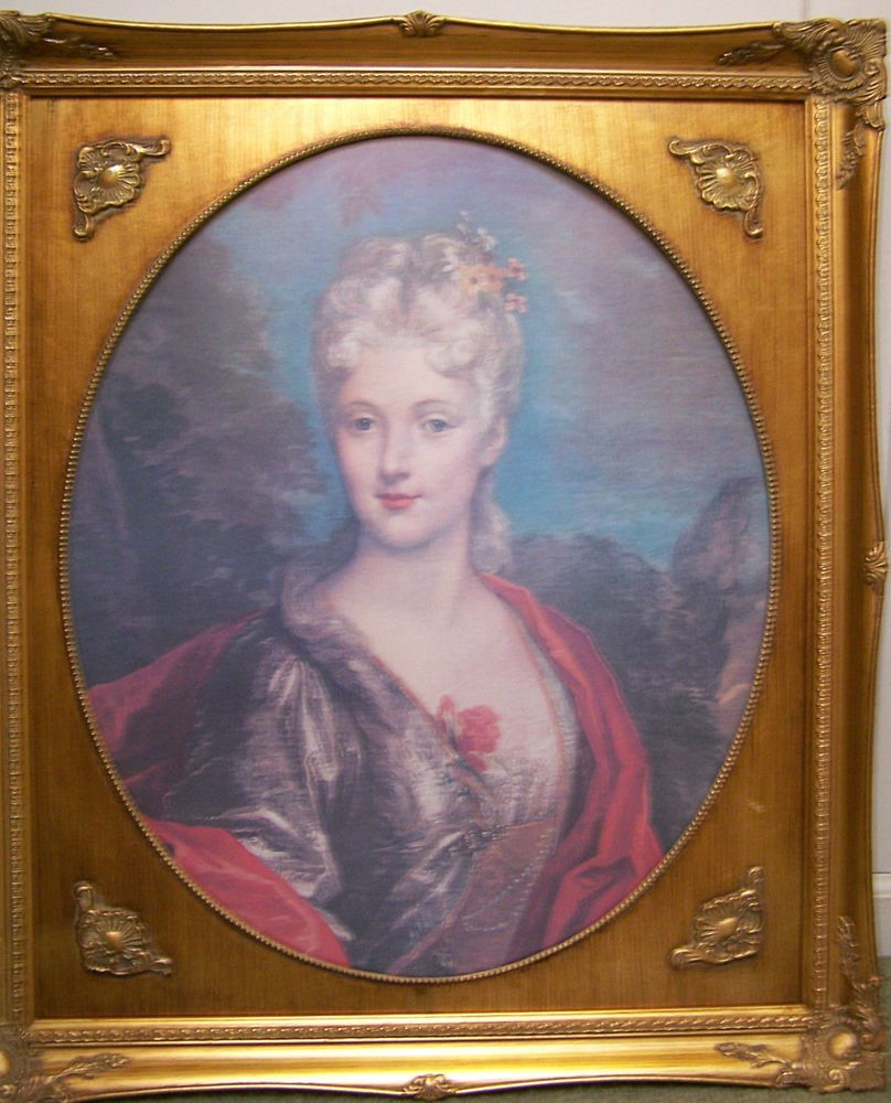 Gold Gilt Framed French Victorian Print of Mlle Dubois by Nicolas de Largilliere #Realism