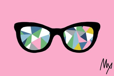Abstract Eyes on Pink Art Print by Project M