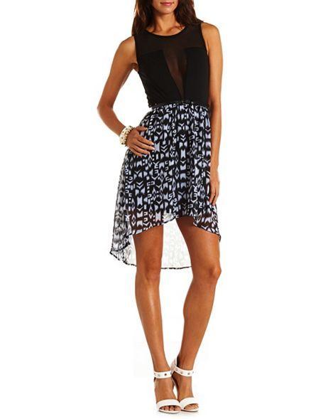 Belted Mesh Inset Hi-Low Dress: Charlotte Russe