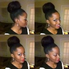 High Bun With Kanekalon Hair Google Search Kanekalon Hairstyles Hair Styles Natural Hair Styles
