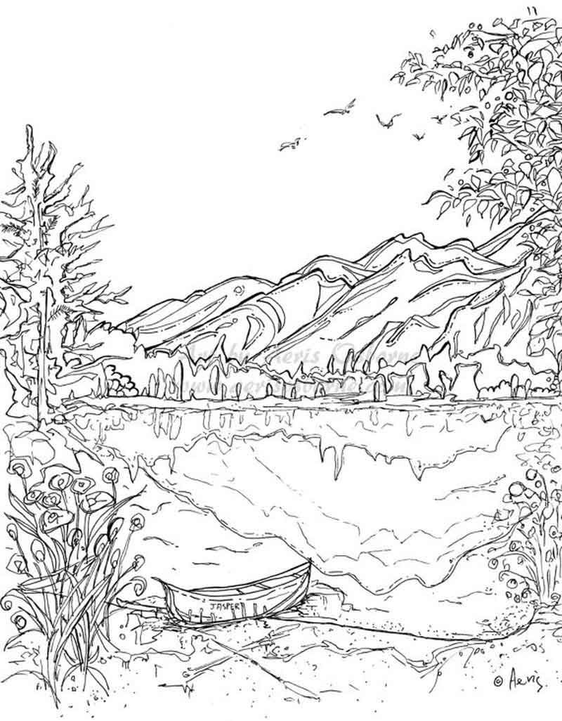 Nature Scene Mountains Coloring Page Sketsa Pemandangan Warna