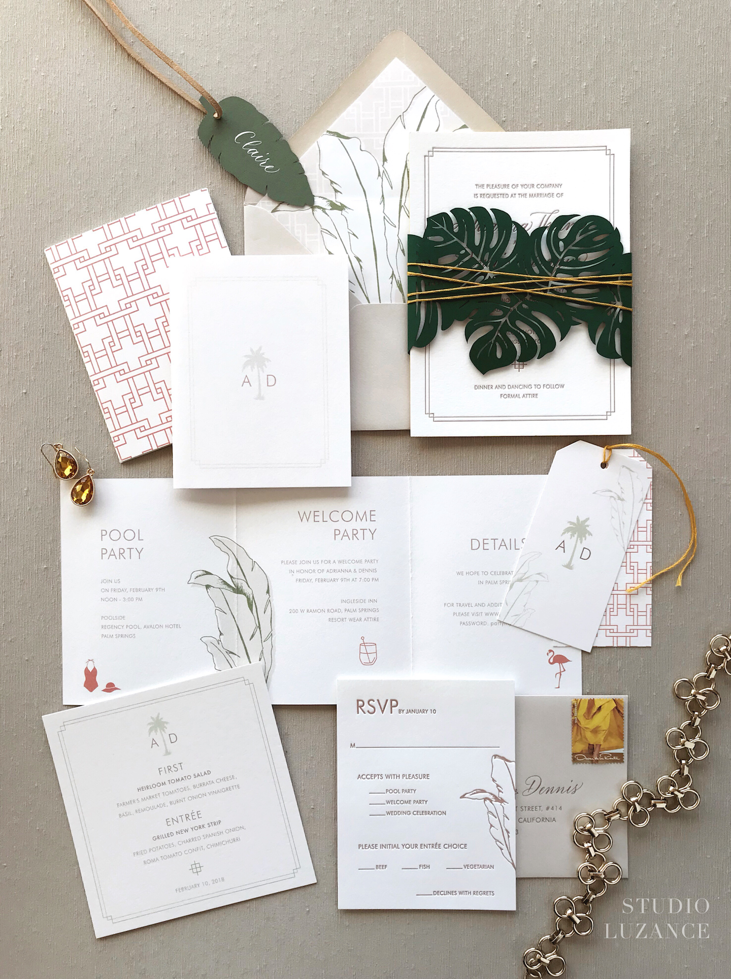 Palm Springs wedding invitation with a tropical vibe and a laser cut ...