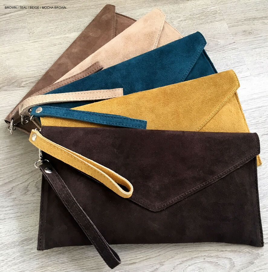 Real Suede Leather Over Sized Envelope Clutch Bag Large Evening Long Strap Italy