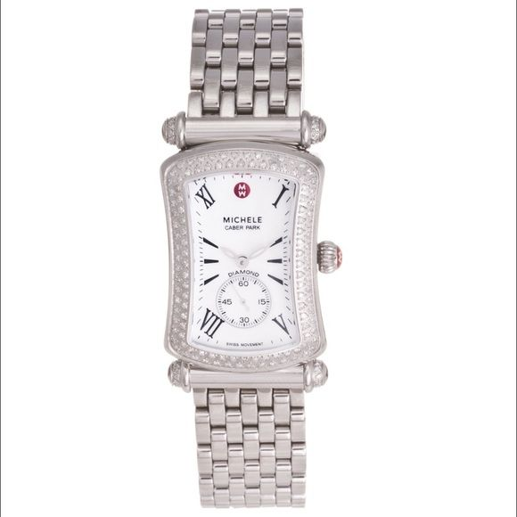 Michele Caber Park Stainless Diamond Watch 60 Carat Weight 148 Diamonds Stainless Steel Shows Some Signs Of Wear But No Major Def Stainless Steel Bracelet Diamond Stainless Steel Case