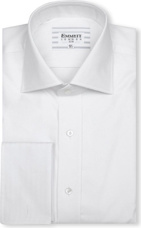 Emmett Mens Formal Shirt Slim Fit Pink Double Cuff Oxford Classic Collar Cotton