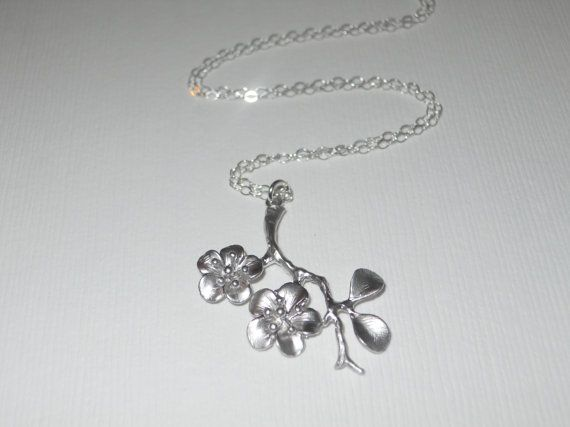 Cherry Blossom Branch Necklace by morganprather on Etsy, $23.00