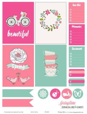 Free printable download of spring themed journaling cards and elements suitable for pocket scrapbooking and or decorating your favorite planner.