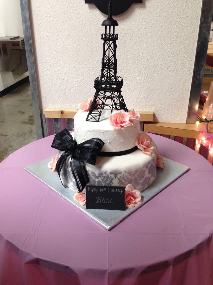 sweet 16 parisian cakes Sweet 16 Paris Themed 2 tier birthday cake