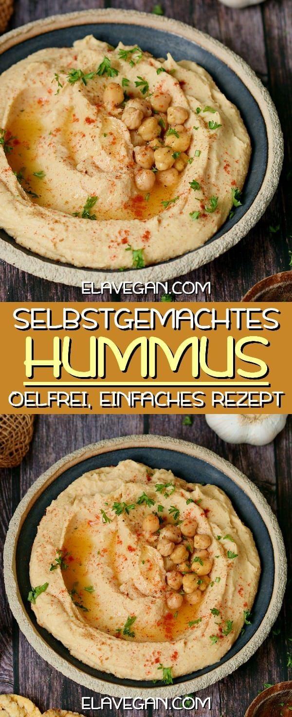 Bestes Hummus Rezept (ölfrei) | einfach selber machen - Elavegan