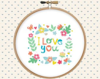I love you cross stitch pattern pdf - instant download - digital download - pillow embroidered - flowers, lettering - modern cross stitch