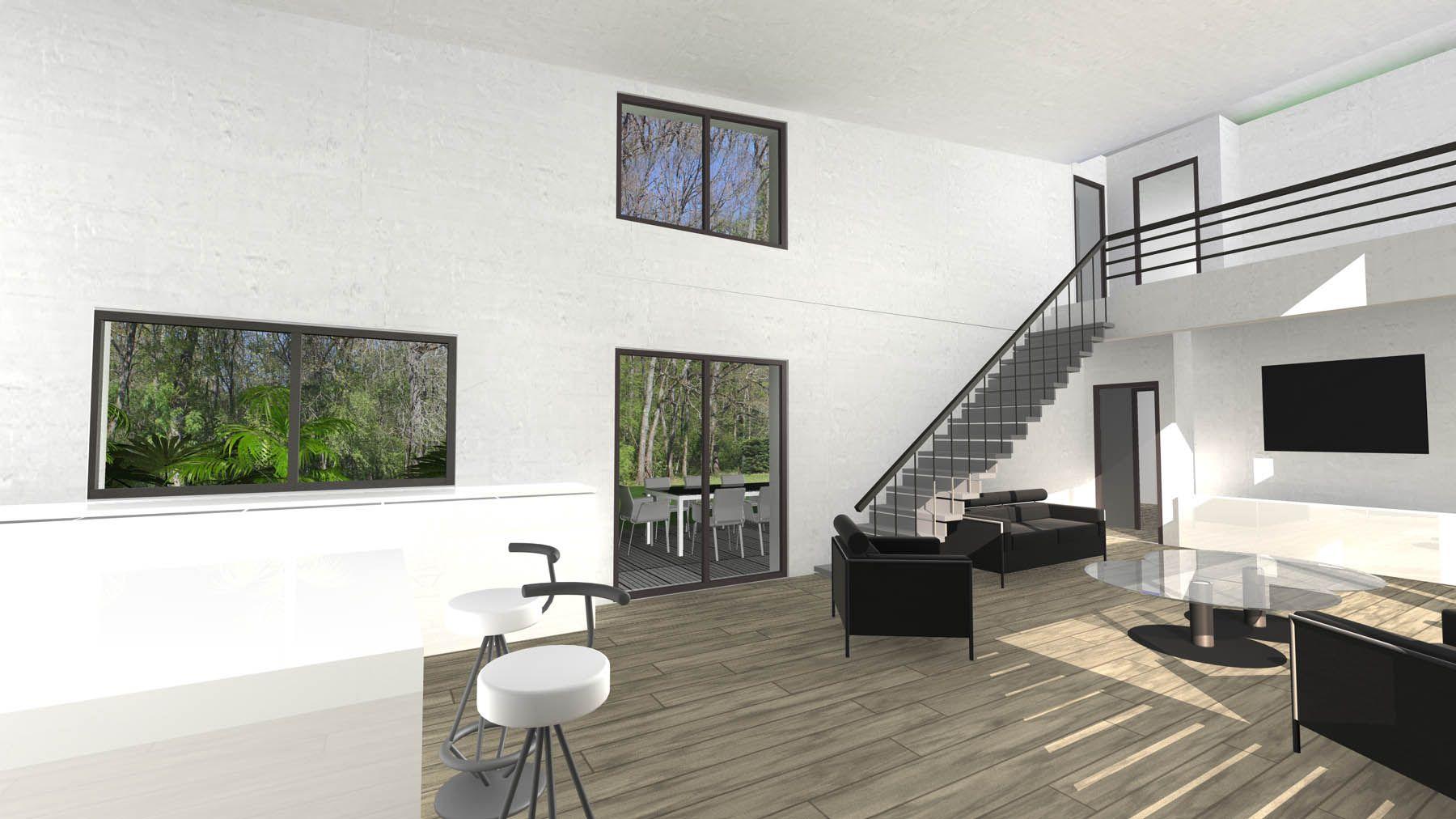 Maison contemporaine à toitures zinc - vue de la mezzanine et de l ...
