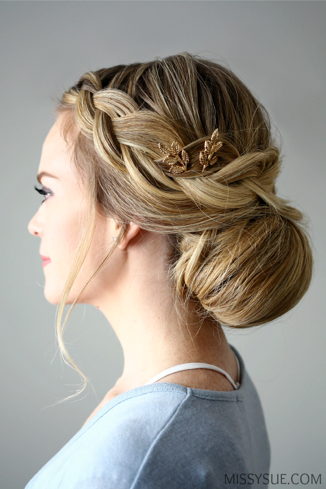pretty hair styles in with this braid embellished smooth bun from 2490