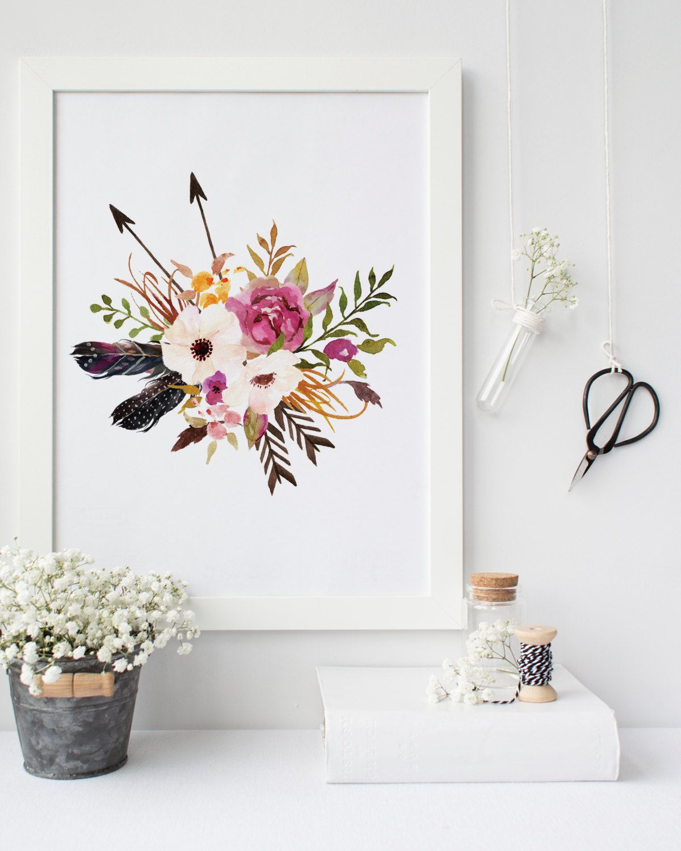 Tribal Nursery Print Boho Flower Printable 8x10 Fl