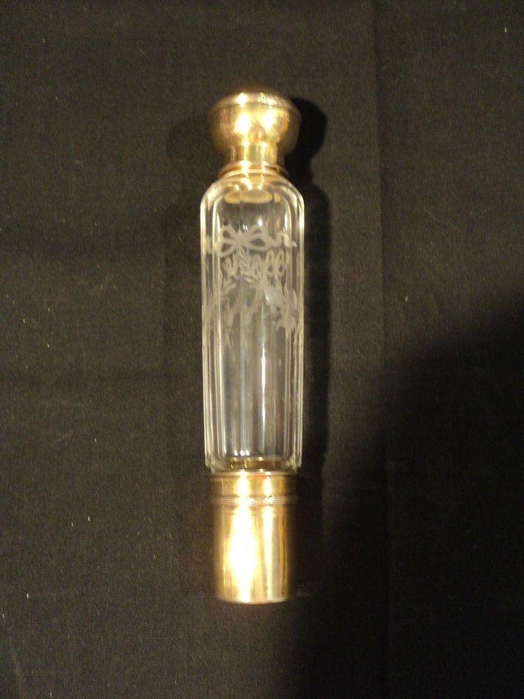 BEAUTIFUL ANTIQUE FRENCH ENGRAVED CRYSTAL PERFUME / ABSINTHE BOTTLE with FLASK