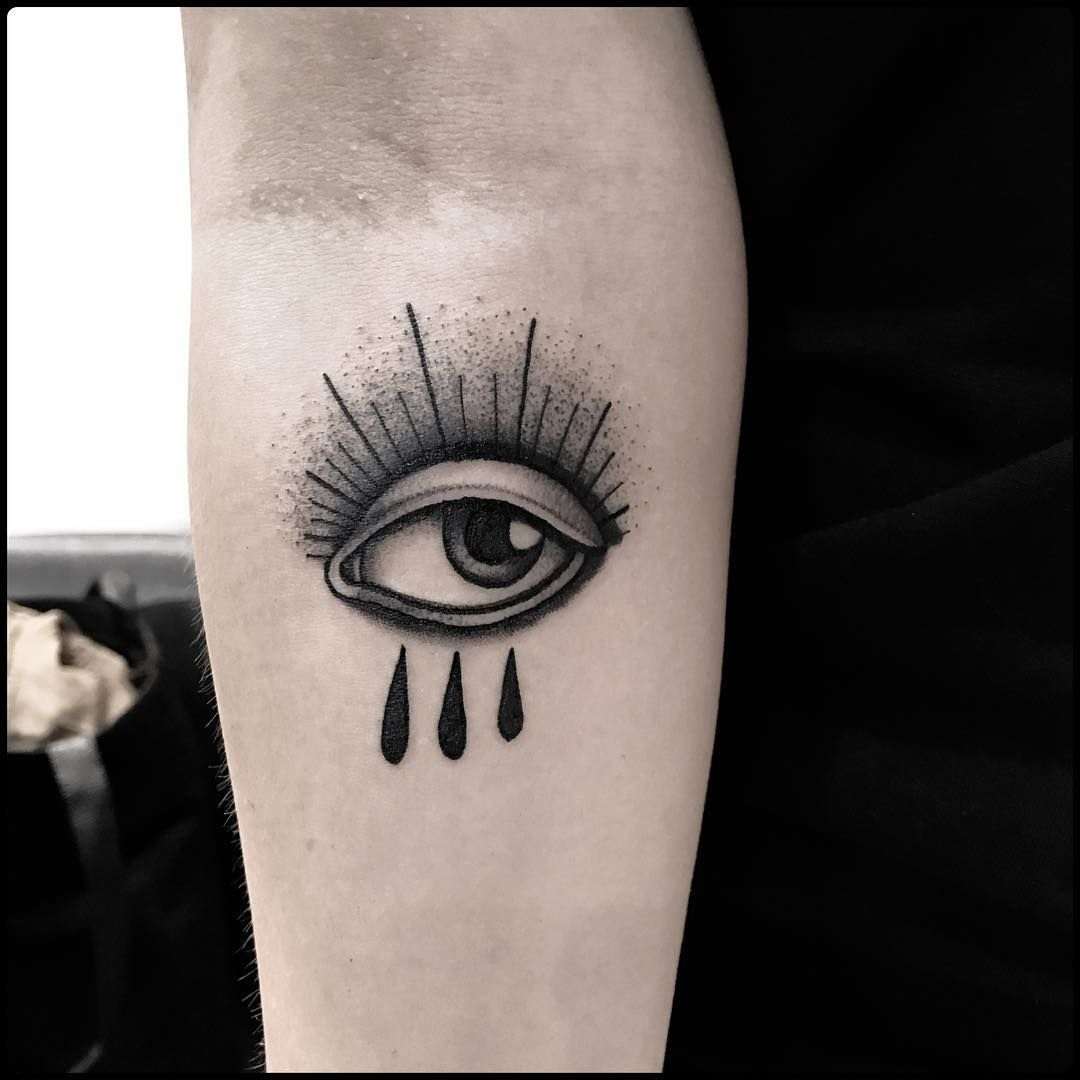 62 Traditional Eye Tattoo Ideas And Designs About Eyes: Traditional Style Eye Crying On Umbrella Tattoo Traditional