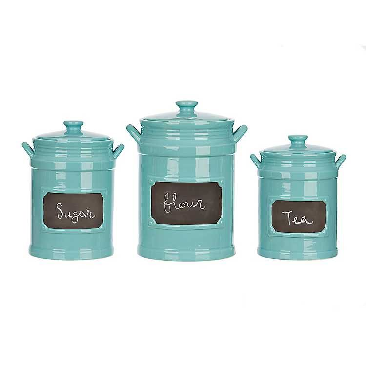 Turquoise Chalkboard Kitchen Canisters Set Of 3 In 2020 Kitchen