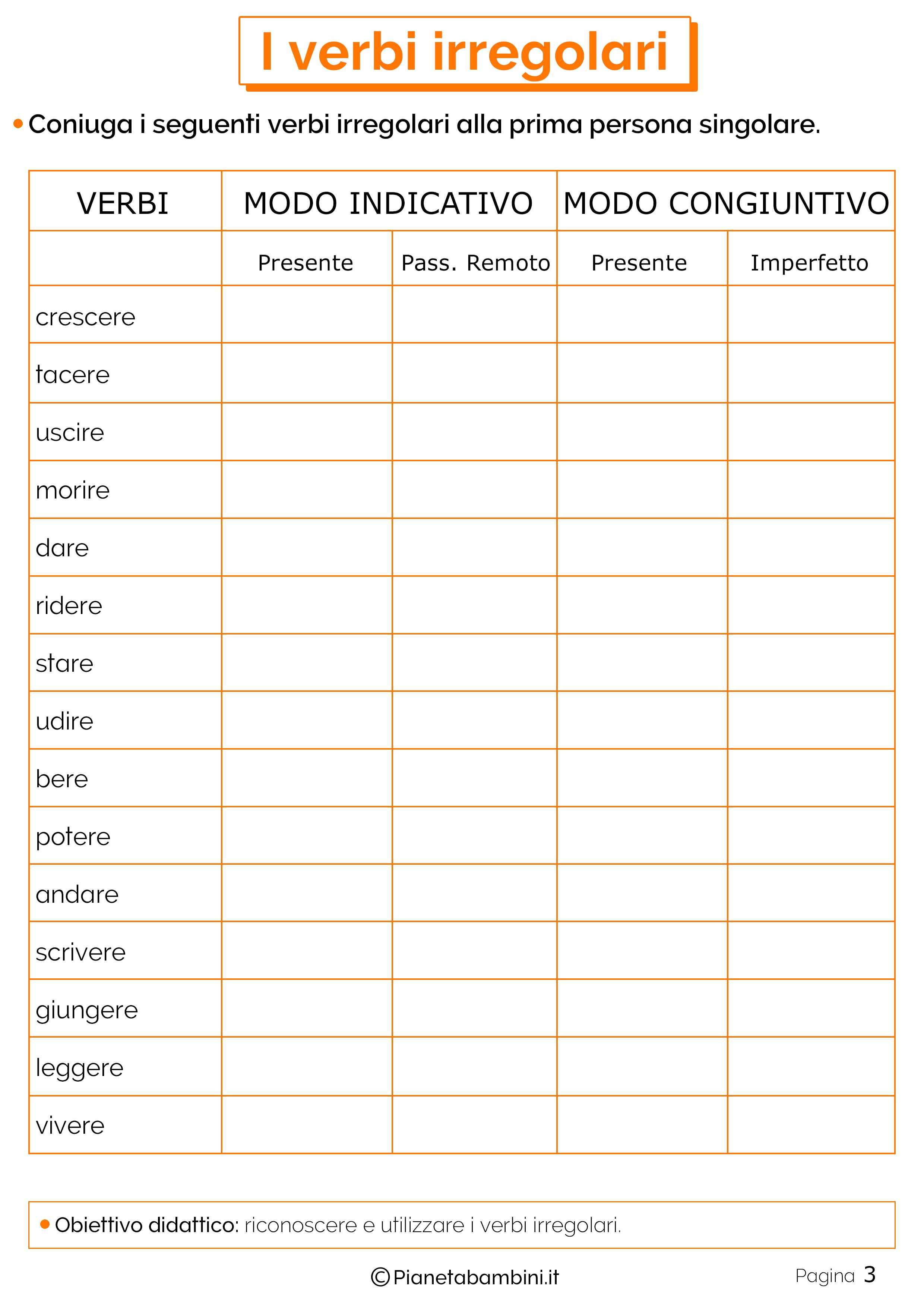 I Verbi Irregolari Esercizi Per La Scuola Primaria Laboratorio Di
