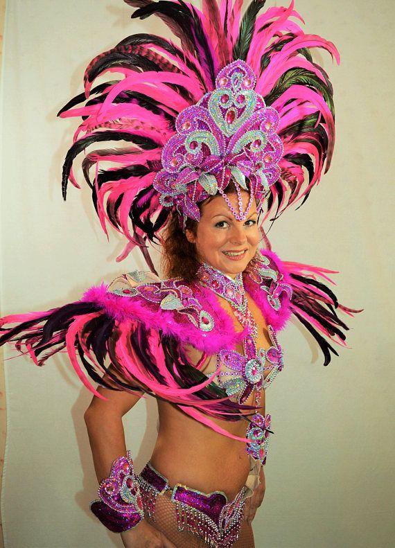 Brazilian Double Pink Rio Carnival Samba Dance Costume -3489