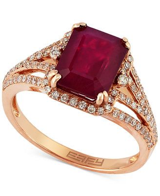 Rosa by EFFY Ruby (3-1/4 ct. t.w.) and Diamond (3/8 ct. t.w.) Ring in 14k Rose Gold