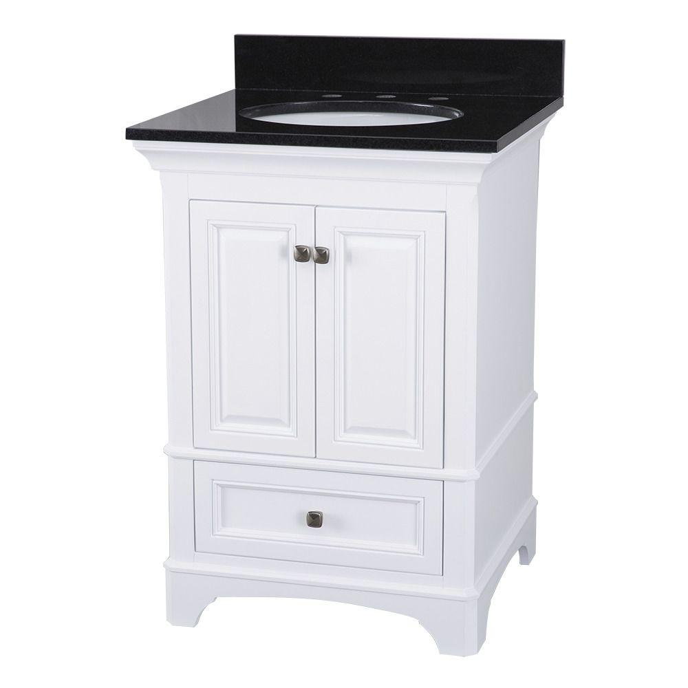 Home Decorators Collection Moorpark 25 In W X 22 In D Bath Vanity In White With Granite Vanity Top In Black Mpwvt2522 White Bathroom Vanity Small White Vanity Bathroom Granite Vanity Tops