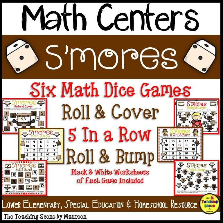 S'more Math Center Dice Games Card games for kids