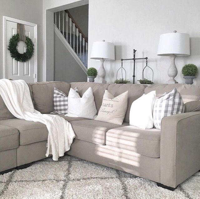 Farmhouse living room from juliecwarnock modern for Gray and white family rooms