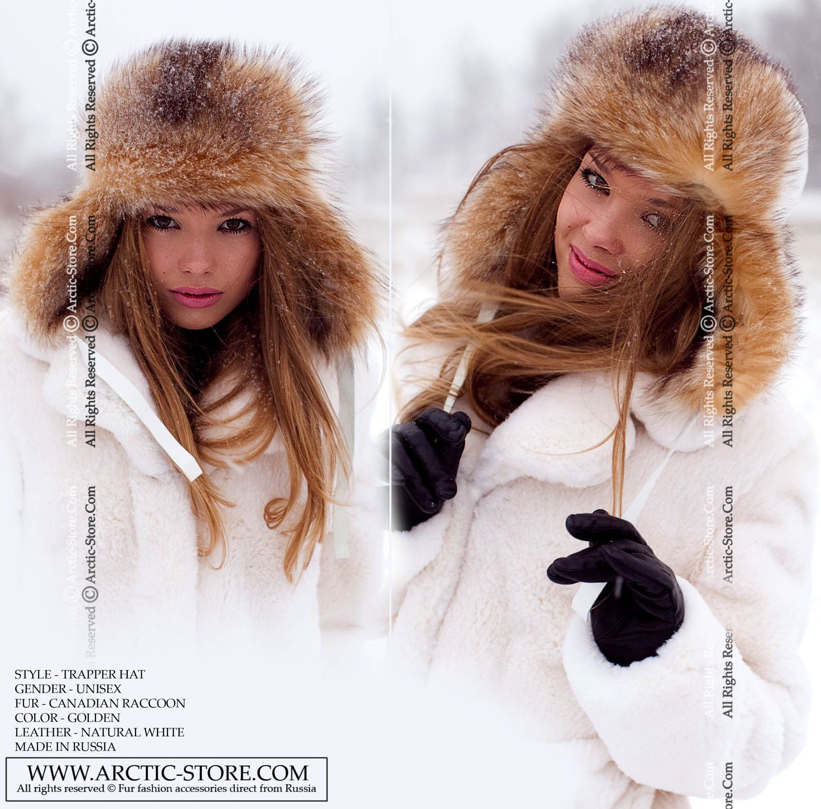 Warm gold Canadian raccoon fur is our newest color addition for this  season. The trapper style Ushanka hat has the traditional shape of a man s  hat 882c7ddffaa9