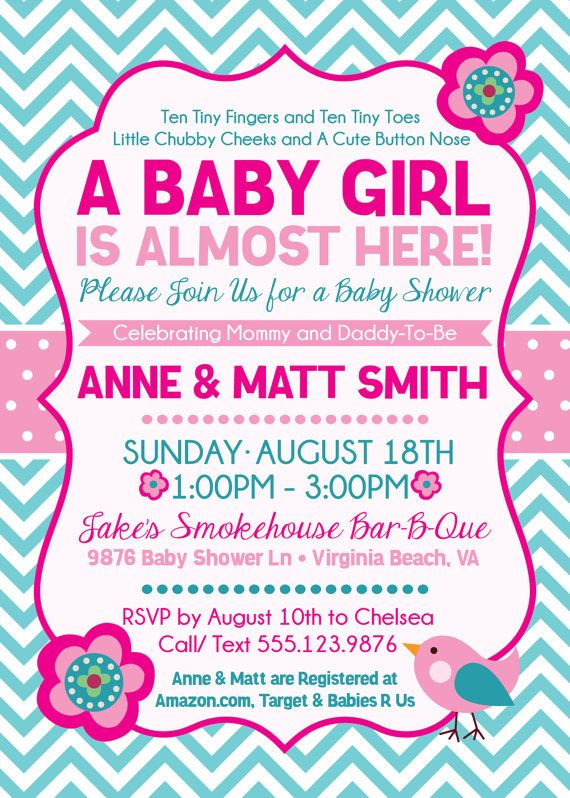 Pink and Aqua Baby Shower Invitation -Baby Girl Is Almost Here - free baby shower invitation templates for word