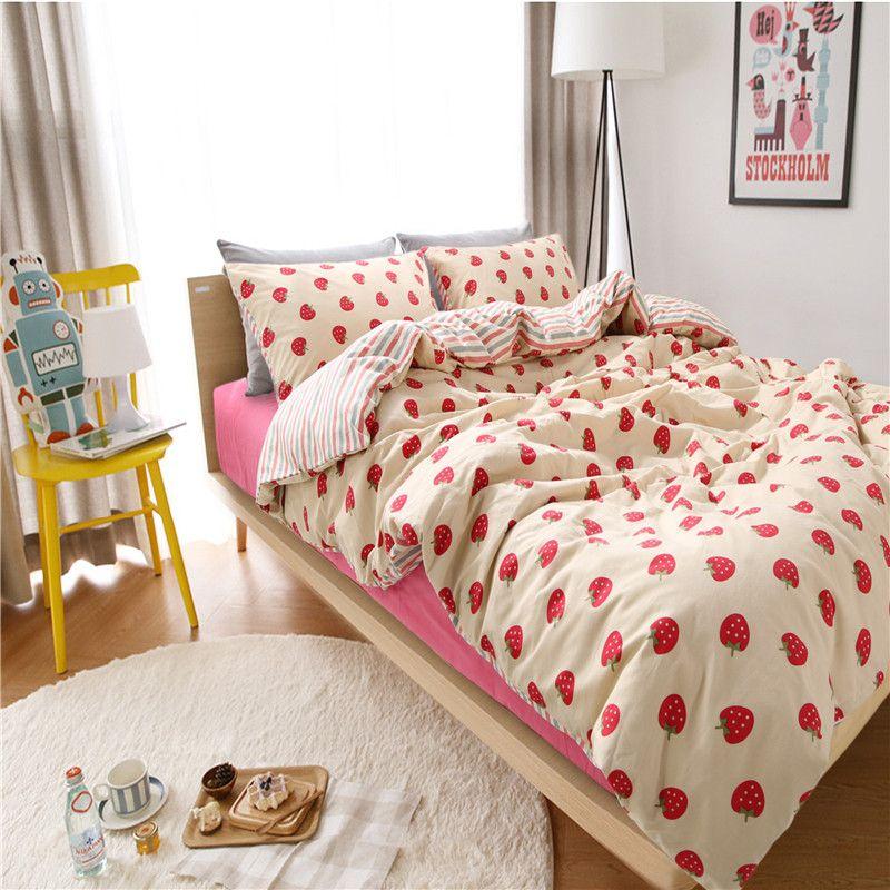 Gunstige Erdbeere Bettwasche Set Taste Art Bettbezug Geometrische