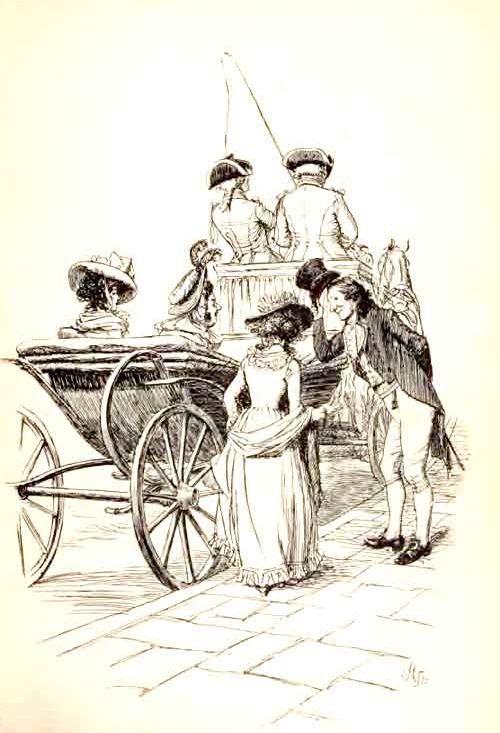 "diaryofalandlockedmermaid:  ""Introduced to Mrs. Jennings"" Hugh Thomson illustration for an 1896 edition of Jane Austen's Sense and Sensibility"