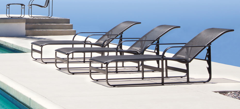 Chaise lounges overlooking a beautiful ocean view the for Brown and jordan chaise