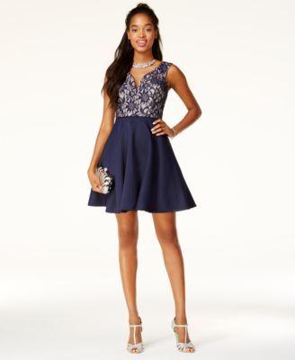 02efea42f City Studios Juniors' Glitter Lace Fit & Flare Dress, A Macy's Exclusive -  Black 0