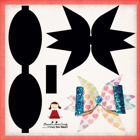 Double Tail Faux Leather Bow Template SVG And Printable