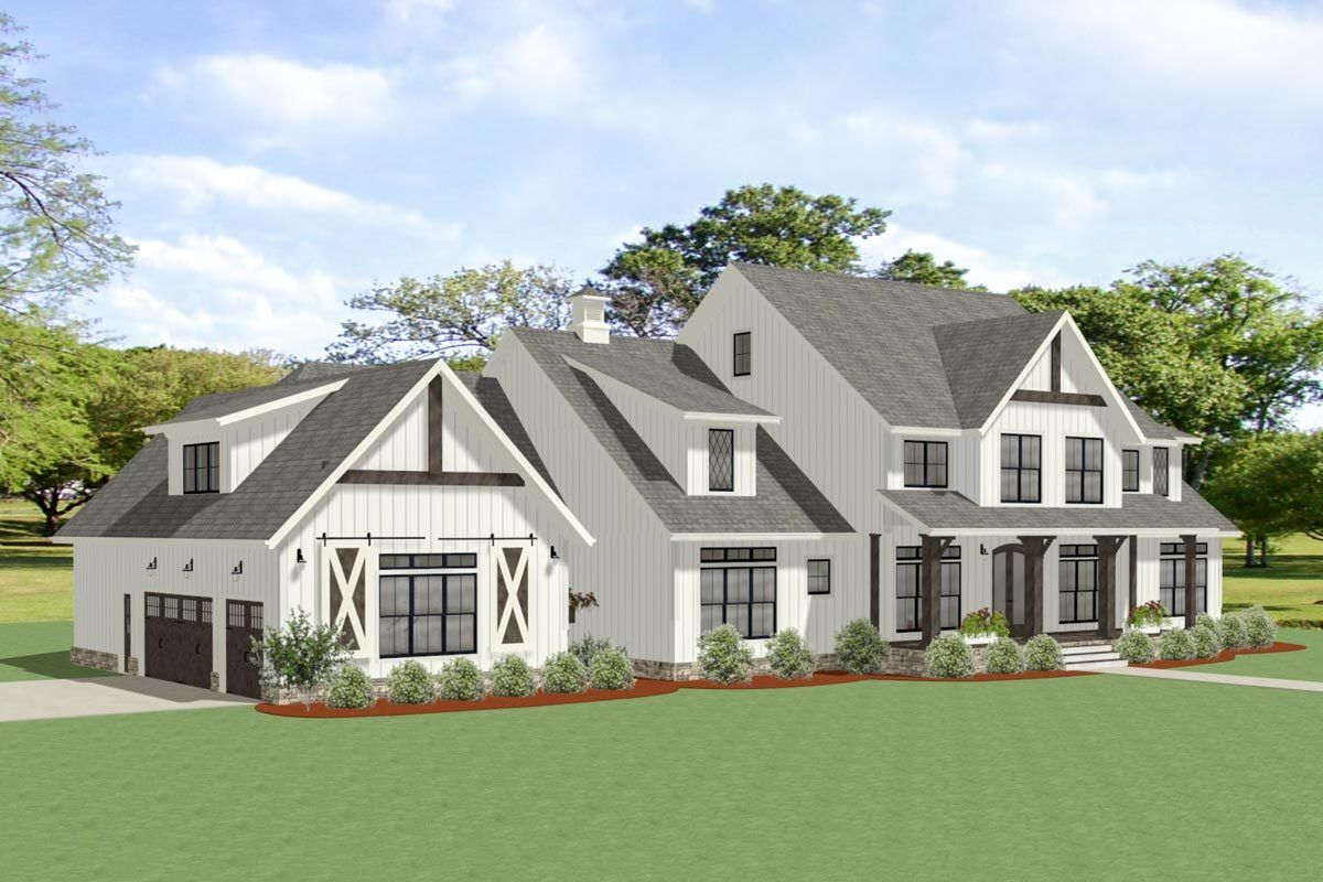 Plan 46394LA Sophisticated Farmhouse with Twostory Great