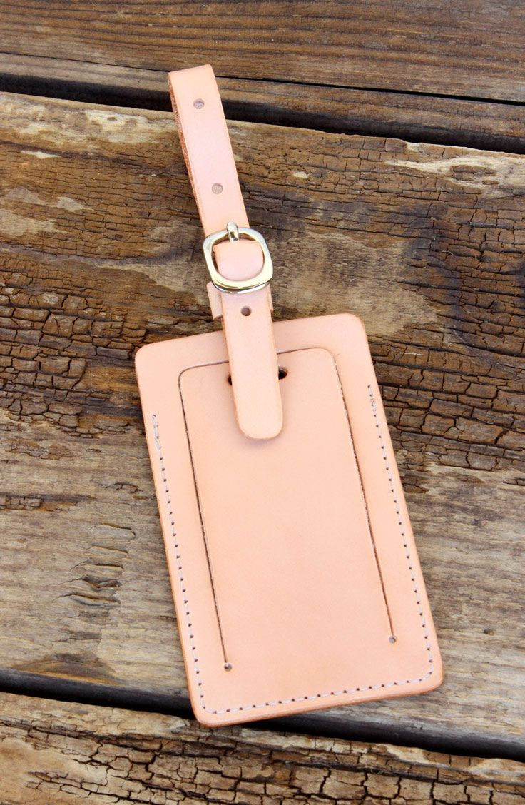 c4fc36454c63 Leather Luggage Tag with Privacy Flap   Handmade Leather Goods by ...