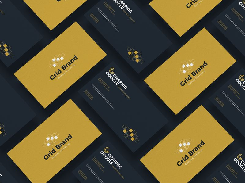 Free Grid Brand Business Card Mockup Graphic Google Tasty Graphic Designs Collectiongraphic In 2021 Business Card Mock Up Business Card Branding Business Card Psd