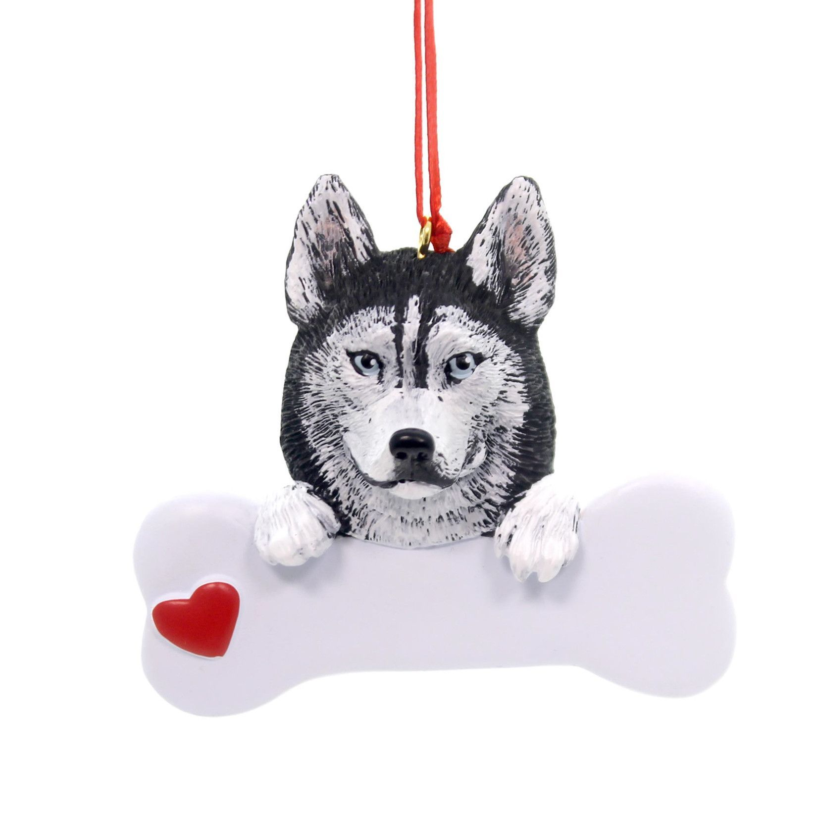 Holiday Ornaments Siberian Husky Polyresin Dog Bone Heart Rm566