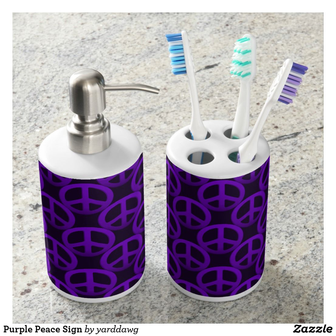 Purple Peace Sign Bathroom Set | Bath accessories and Bath