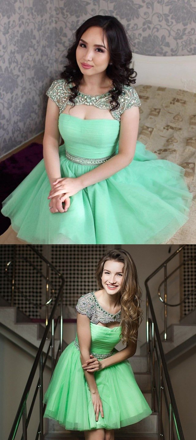 d51444a04e7 Cute A-line Hot Pink Beads Short Homecoming Dress with Open Back ...